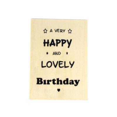 Houten verjaardagskaart, lovely birthday