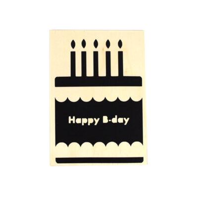 Houten verjaardagskaart, happy B-day