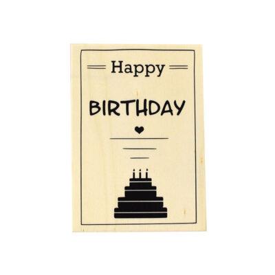 Houten verjaardagskaart, happy birthday taart