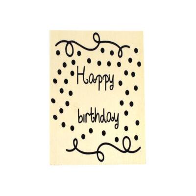 Houten verjaardagskaart, happy birthday