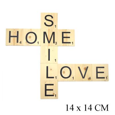Houten scrabble letters voor aan de wand (klein) wanddecoratie