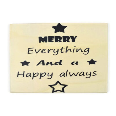 Houten kerstkaart, merry everything