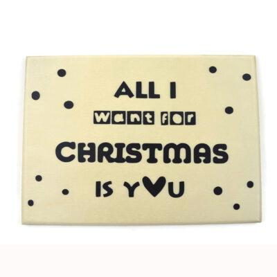 Houten kerstkaart, all i want