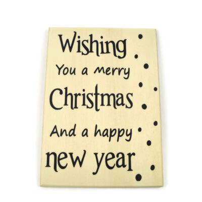 Houten kerstkaart, wishing you