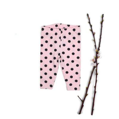 Baby legging, licht roze met zwarte stipjes
