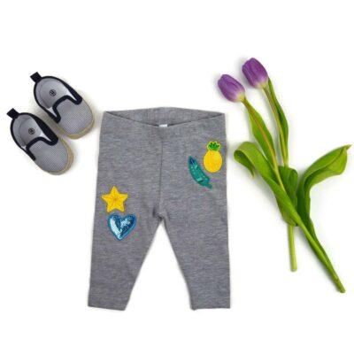 Baby legging, grijs bedrukt