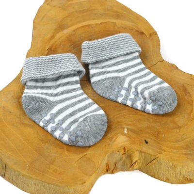 Baby sokjes - Grijs wit antislip