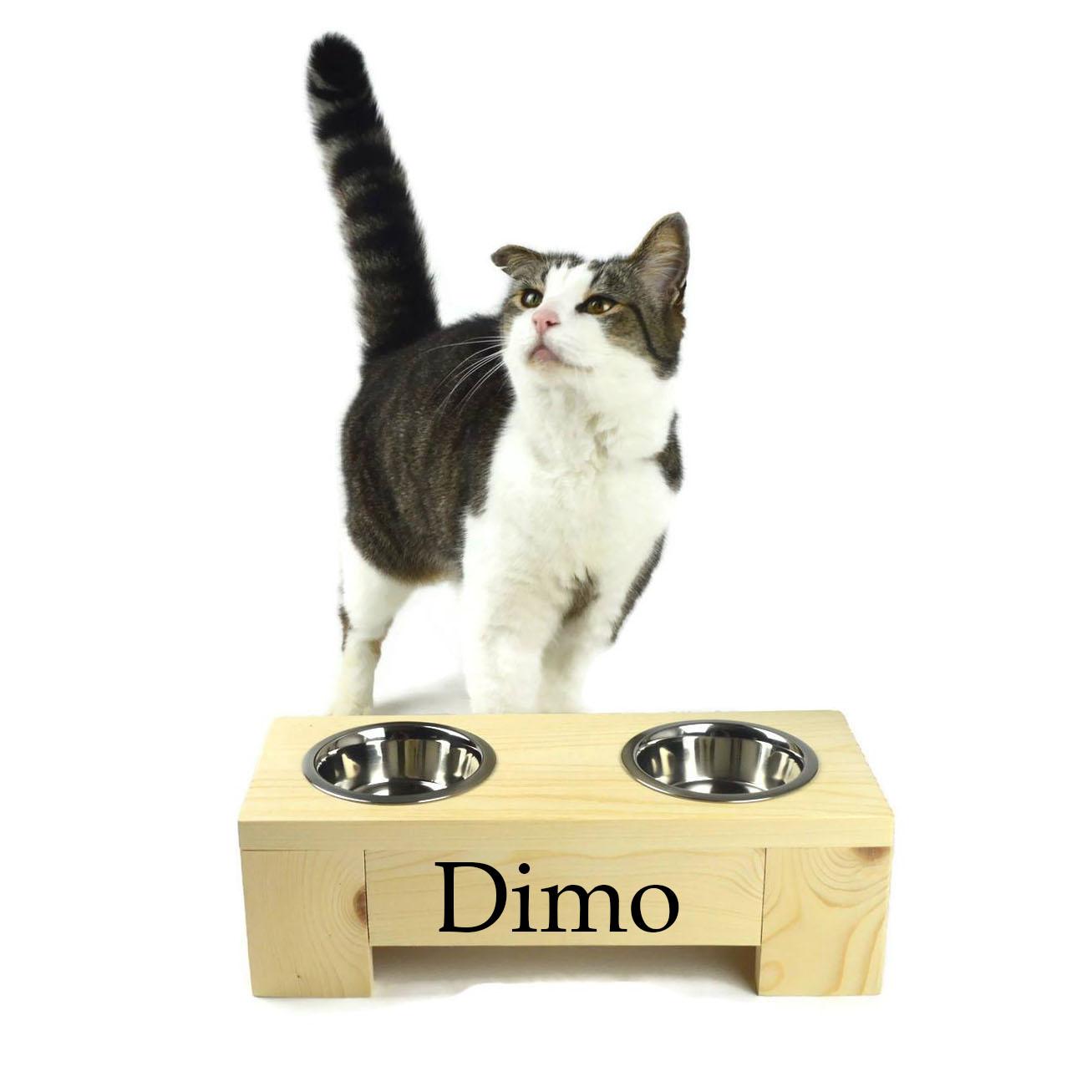 Kattenvoerbak van hout met eigen naam ladecos